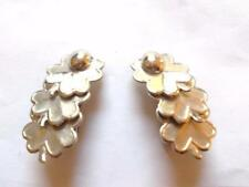 VINTAGE 1950'S SILVER TONE AUTUMN LEAF BERRY CLIP ON EARRINGS