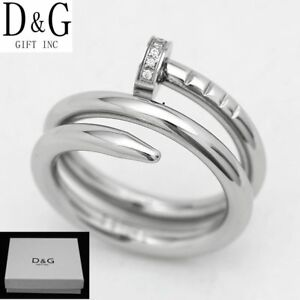 DG Women's Silver Stainless Steel,Eternity CZ Nail Wedding Ring 6 7 8,9 10 Box
