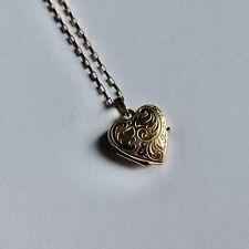 "9ct Yellow Gold Heart Locket Pendant & Chain 3.7grams 16"""