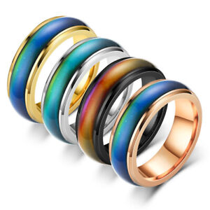 Color Changing Ring 6mm Comfort Fit Stainless Steel Men Wedding Band Size 6-12