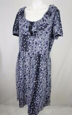Basque Womens Dress 14 Heart Ruffle Short Sleeve Purple Grey Casual Party C223