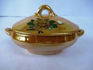 """Peach Lustreware Covered Sugar Bowl Hand Painted Floral Vintage Golden Pot Old""""F"""