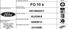 FO10S KIT 4 FILTRI TAGLIANDO  FORD FOCUS II 1.6 TDCI 80 KW 109 CV DAL 10/2005