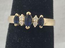 Natural Sapphire & Diamond 14K Yellow Gold Ring Size 6.5
