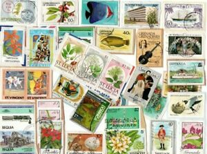 LOVELY MIX OF DIFFERENT KILOWARE STAMPS FROM SMALLER COMMONWEALTH WEST INDIES IS