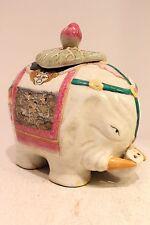 "Beautiful White Porcelain Elephant Lidded Jar Figurine Asian Pattern Artwork 10"""