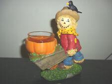 Yankee Candle Scarecrow Pushing Pumpkin Wheelbarrow Tea Light Candle Holdr New