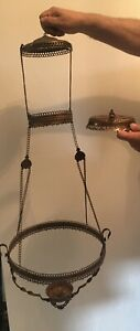 Victorian Hanging Oil Lamp Metal Frame
