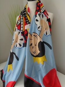 Boutique Moschino Olive Oyl Queen Hearts Modal Cashmere Large Rectangular Scarf