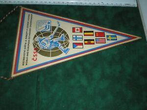 Vintage Pennant 1978 Ice Hockey World Championships Prague Czechoslovakia