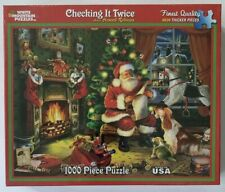 White Mountain Checking It Twice 1000 Pc. Jigsaw Puzzle Santa Claus W/ List Xmas