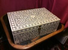 Chest Jewellery Bone Inlay Box Vintage Antique Decorative Wooden Desk 46 by 31cm