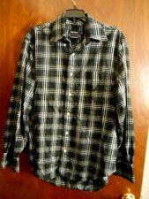 Nautica Mens Size M Long Sleeve Shirt Traveler Twill Black Plaid