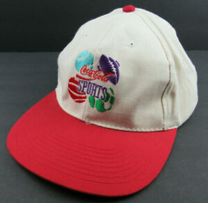 Vtg 90's Coca Cola Sports Hat Cap Embroidered Football Baseball Soccer Snapback