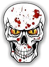 Cráneo Gótico Emo salpicaduras de sangre con Rojo Amarillo Mal Ojos Auto Moto Pegatina Calcomanía