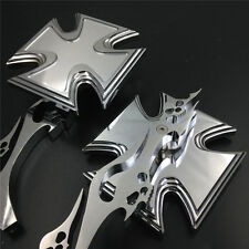 chrome Motor Alloy Maltese Cross Custom Mirror Yamah YZFR1 R1 R6 FZR600 YZF600R