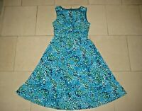 Coldwater Creek stretch jersey blues/greens abstract sleeveless dress 8