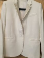 The Kooples Off White Cream Ecru Crepe Blazer Jacket Snakeskin Leather Collar 34