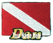 Scuba Diving Flag Custom Iron-on Patch With Name Personalized Free