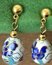 CLOISONNE ENAMEL VINTAGE DANGLE POST STUD EARRINGS CHINA