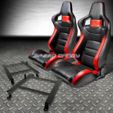 PVC LEATHER HIGH-HEAD RED RACING SEATS+LOW MOUNT BRACKET FOR 97-04 CORVETTE C5