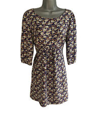 BODEN Purple Abstract FLORAL Print 3/4 Sleeve Jersey DRESS UK size 12 Reg