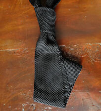 Black Knit Tie - Pure Silk - 6.5 cm/ 2½ Inches - Slim - Flat End