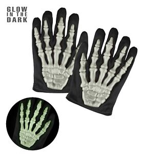 Skelett Handschuhe Kinder 3D Knochen leuchten im dunkeln Halloween Horror