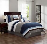 7 Piece Luxury Striped Microfiber Bedding Sets Bedroom Comforter Set,King , Blue