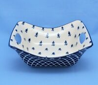 CERTIFIED INTERNATIONAL CHINA SQUARE SERVING BOWL WHITE BLUE