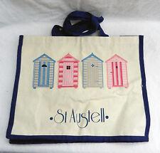 Large Canvas Shopping Bag / Tote Bag - Cornish St Austell Beach Hut Design - New