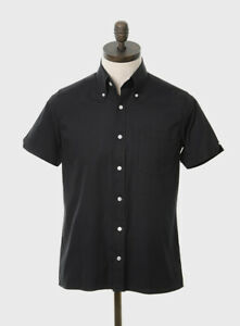 Art Gallery Clothing - Short Sleeve Fitted Shirt- Black XS  Mod Sixties