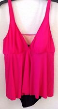Womens 20W Pink/Black One-Piece Bathing Suit DUNE DECK Adjustable Nylon/Span NWT