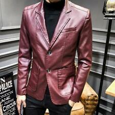Men's Youth Slim Fit Leather Blazer Jacket Business Casual Lapel Pockets Coats