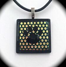 Polka Dot Paw Print Dichroic Fused Glass Pendant to benefit animal rescue