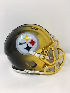 Steelers custom two tone CHROME  riddell speed mini helmet