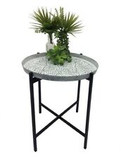 BOHO PRESSED METAL EMBOSSED DECORATIVE SIDE TABLE WITH WASHED TOP / SILVER TOP
