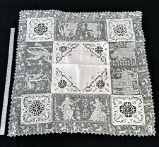Exquisite Antique C.1890s/1900 Italian Filet Lace Fiqural Tablecoth Very Unique