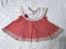 VINTAGE Baby Girl Bias FLARED Red Gingham Dress BIG Collar APPLE 3 Rows of Lace