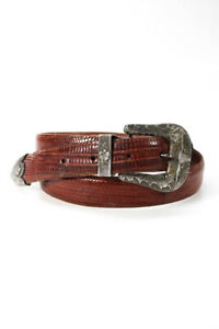 Polo Ralph Lauren Womens Leather Embellished Buckle Skinny Belt Brown Size 32