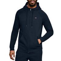 Under Armour UA Rival Fleece Mens Hoodie Blue Full Zip Sports Gym Sweatshirt