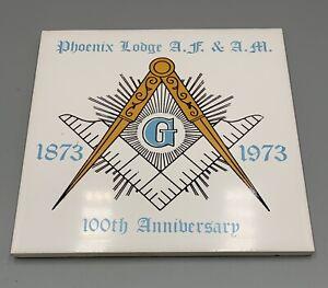 Vintage Freemasons Masonic Phoenix Lodge 100th Anniversary Ceramic Tile 1973