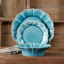 The Pioneer Woman Paige 12-Piece Dinnerware Set, Denim