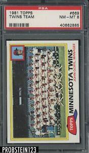 1981 Topps #669 MInnesota Twins Team Card PSA 8 NM-MT