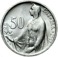 Münze Tschechoslowakei - 50 Korun 1947 Aufstand - Silber - Stempelglanz UNC