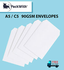 C5/A5 PLAIN QUALITY 90GSM WHITE ENVELOPES SELF SEAL STRONG PAPER 229MM×162MM C5S