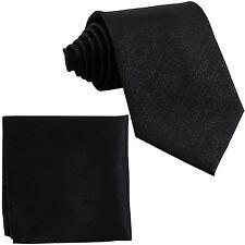 New Men's Polyester Glitters Neck Tie necktie and Pocket Square Hankie Set Black