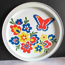 "Vintage Tin Serving Barware Tray with Mod Flowers & Butterflies 11.75"" FREE SH"