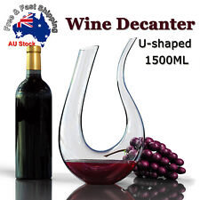 1.5L 1500ML Crystal Glass U-shaped Horn Wine Decanter Pourer Wine Container L
