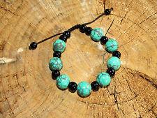 Splendide Bracelet Tibétain - Artisanat Ethnique du Népal - Turquoise & Onyx